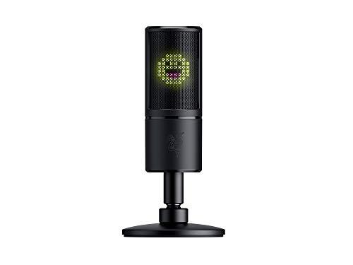 Razer Seiren Emote USB Kondensator-Mikrofon für Streaming mit Integriertem Schockdämpfer, Superniere Aufnahmemuster und Razer Chroma LED Matrix